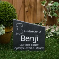 Medium black slate angle Gravestone